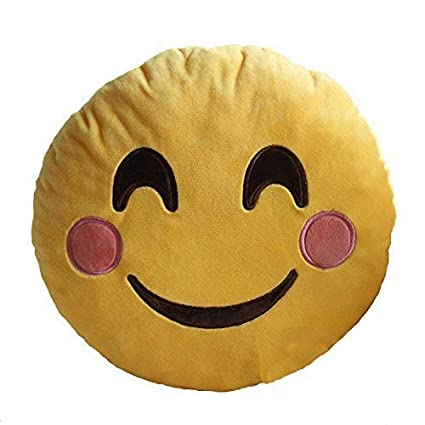 Bees Bliss Smiley Thick Plush Pillow Round Cushion Pillow Stuffed /Gift for Kids/for Birthday Gift -30CM , Yellow (Blush Smiley)