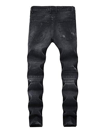 Lavaggio Versaces Laterale Slim Jeans Black Vestibilità Fori Maschi Locomotiva Cerniera Pantaloni 886wS