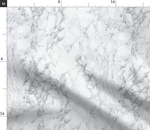 Spoonflower Marble Fabric - Grey Home Decor Marble Stone by Kimsa Printed on Basic Cotton Ultra Fabric by The ()