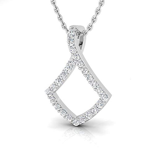 rat Natural Diamond Sterling Silver Kite Shaped Pendant for Women with Chain (J-K Color, I2-I3 Clarity) ()