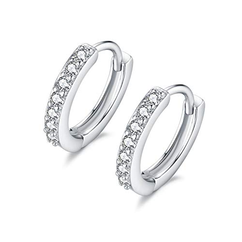 IminiJewelry 925 Sterling Silver Round Cubic Zirconia CZ Tiny Mini Hinged Cartilage Small Hoop Earrings for Women Girls Black Diamond ()