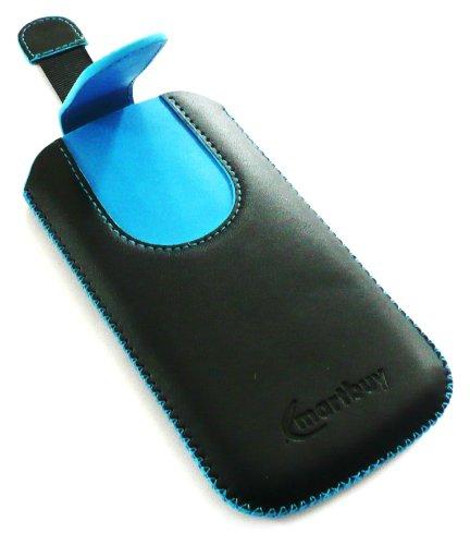 Emartbuy ® Noir / Bleu Premium En Cuir Pu Faites Glisser Pouch / Case / Sleeve / Holder (Taille X-Large) Avec Le Mécanisme De L'Étiquette De Traction Adapté Pour Apple Iphone 5