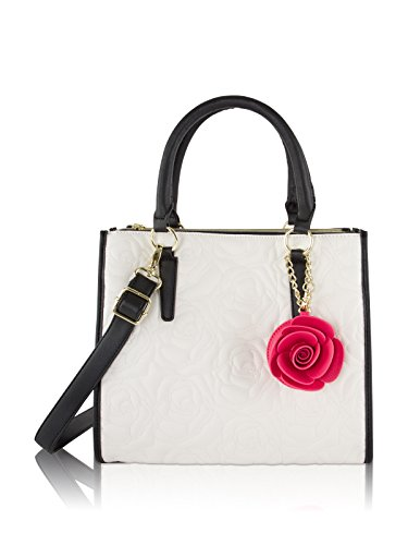 Betsey Johnson Rose Triple Compartment Tote Shoulder Handbag - Cream/Black