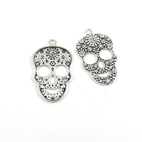 10 Pieces Antique Silver Tone Jewelry Making Charms T3CX1 Flower Skull Head Pendant Ancient Findings Craft Supplies Bulk Lots