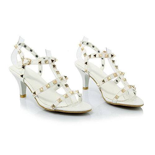 AmoonyFashion Womens High-Heels Assorted Color Buckle Open Toe Sandals White TPNDSTNA