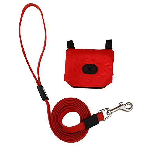 Leash Plastic Dog (FOMATE Dog leash waterproof soft grip strong no stain beach wading rope (Red with poop bag holder))