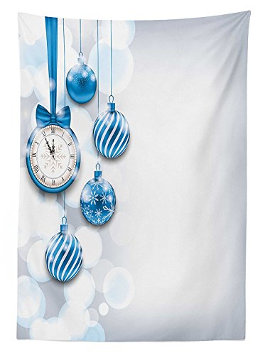 Clock Decor Tablecloth New Year Theme A Clock and Glass Balls Illustration Christmas Decoration Pattern Dining Room Kitchen Rectangular Table Cover Blue