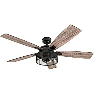 Honeywell Ceiling Fans 50614-01 Carnegie LED Ceiling Fan 52″, Indoor, Rustic Barnwood Blades, Industrial Cage Light, Matte Black