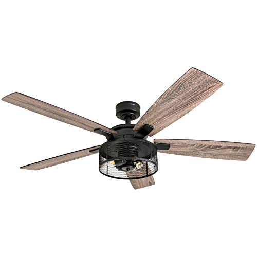 "Honeywell Ceiling Fans 50614-01 Carnegie LED Ceiling Fan 52"", Indoor, Rustic Barnwood Blades, Industrial Cage Light Matte Black"