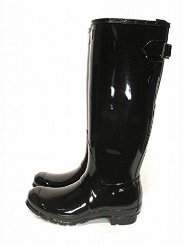 Hunter Original Back Adjustable Gloss Womens Boots Black
