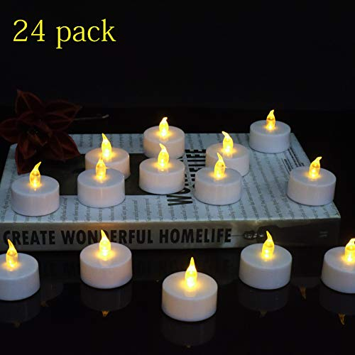 LED Tea Lights,24-Pack Flameless Tea Lights Battery Powered Warm Yellow Lamp for Anniversary,Garden, Wedding, Party, Décor -