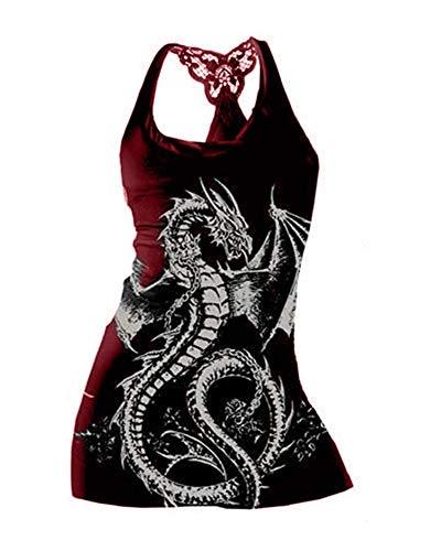 - Qianshan Maomo Womens Tank Tops Fashion Dragon Printed Sleeveless Vest Sport Yoga Tank Top Burgundy