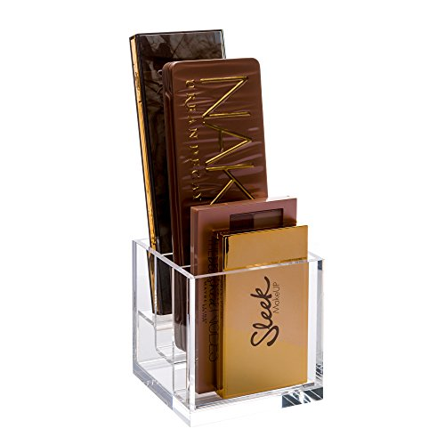 Acrylic Cube Eyeshadow Holder and Makeup Palette Organizer - Space-Saving Compact Size Holds Palettes up to 3 x 1 inch Wide