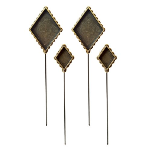 Pin Hat Shaped (Spellbinders MB3-004 Media Mixage Diamond Hatpin Bezel for Scrapbooking, Bronze)