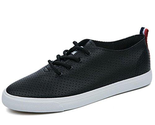 SHFANG Señora Zapatos Verano Punzonado Permeabilidad Color sólido Fondo plano Ocio Movimiento Cómodo Estudiantes Escuela Negro Blanco Black