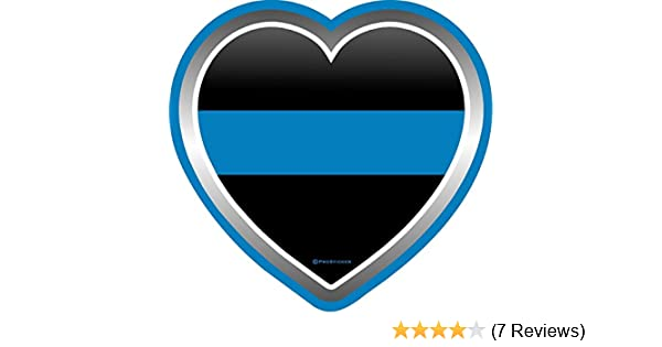 "One 4/"" Support Law Enforcement Blue Line Heart Decal Sticker ProSticker 1087"