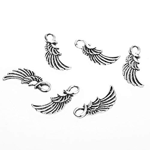 (Monrocco 100 Pcs Vintage Tibetan Antique Silver Angel Wing Charms Small Feather Wing Charms Pendant Bulk for Bracelets Jewelry Making)