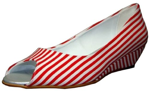 I AM Walking Keilpumps 707396 Red Fabric Red - Rot Weiss ltIakO9z