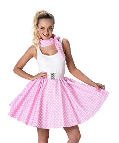 Women's Pink Polka Dot Skirt & Necktie Halloween Costume (S) ()