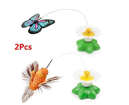 Funny Pet Cat Toys Butterfly Cat Kitten Playing Toys Litter Birds Spinner Whirling Wiggler Fly - Butterfly Cat And