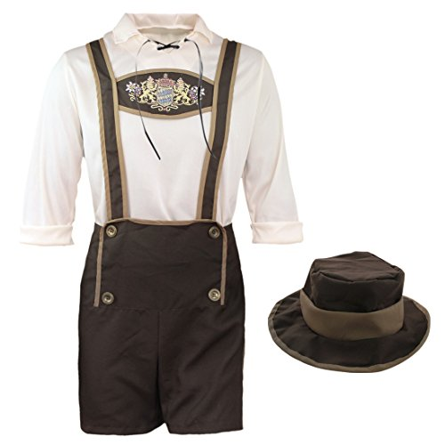 YiZYiF Men's Bavarian Guy Costume Shorts Overalls Dungarees with Hat Large (Bavarian Guy)