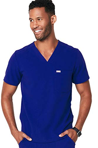 (FIGS Medical Scrubs Men's Chisec Three Pocket Top, Deep Royal Blue S )