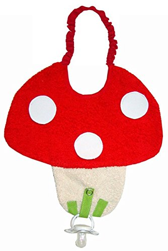 - Zigozago - Baby Bib MUSHROOM with dummy pacifier chain - Tie: Elastic - One Size