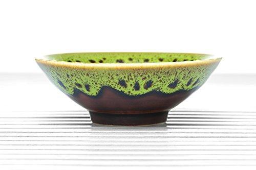 Ceramic Tea Bowl Cup Chawan Porcelain Teacup Gold Leaf Summer Chinese Teaware (brown, green)