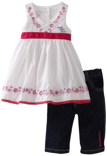 Calvin Klein Baby Girls' Ck Top With Lace and Denim Pant