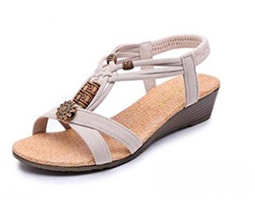 Mujeres Los Zapatos Correa Tobilloaplicar White Jóvenes Con Sandals A Dzw De Planos Plataformas Plata Wedge dd1H7U