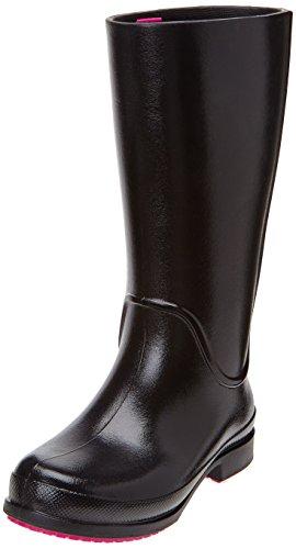 Patent Croc Black (Crocs Girls' Wellie Patent Rain Boot,Black,1 M US)