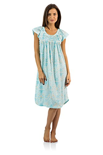 Casual Nights Women's Smocked Lace Short Sleeve Nightgown - Green - Large (Cotton Coat Nursing)