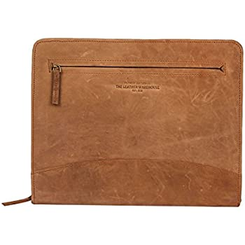 "ca29b5b569fe6 Pad folio Portfolio Planner Organizer Zippered Document holder made in cow  leather with A4 sized pocket compatible with 11""MacBook Dell Asus Acer  laptop ..."