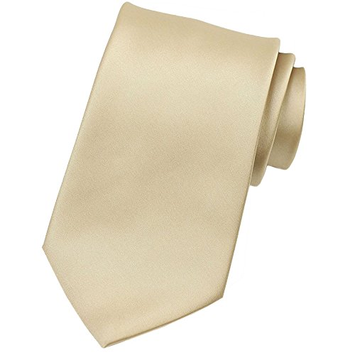 KissTies Mens Gold Champagne Tie Solid Necktie + Gift Box by KissTies (Image #1)