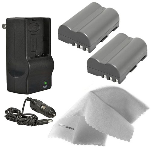 Nikon D200 High Capacity 'Intelligent' Batteries (2 Units) + AC/DC Travel Charger + Nwv Direct Microfiber Cleaning Cloth.