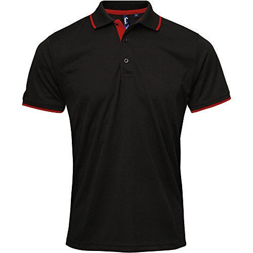 Premier Mens Coolchecker Contrast Trim Corporate Workwear Polo Shirt Black / Red
