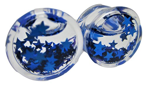 Pierced Republic Blue Star Glitter Liquid Filled Ear Plugs - Double Flared - 6 Sizes - Pair (2 Gauge (6mm))