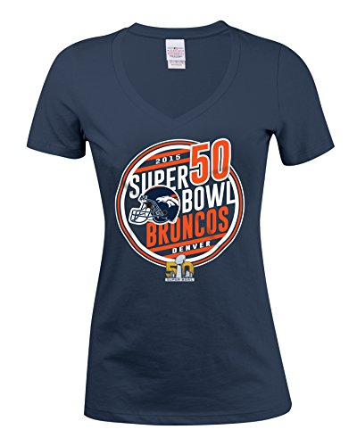 NFL Denver Broncos Women's Super Bowl Bound Short Sleeve Tee, Navy, X-Large (Hoody Bound Bowl)