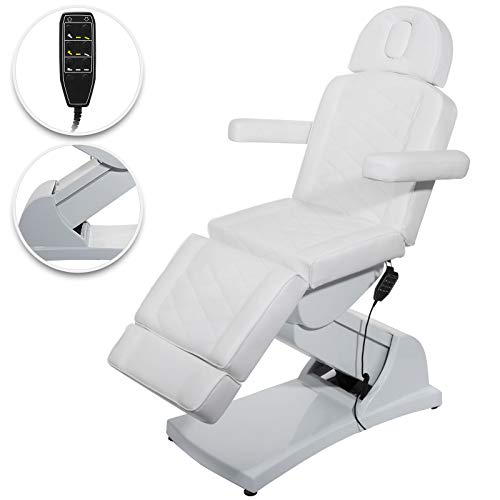 (Happybuy 4 Motors Electric Facial Chair Full Electrical Massage Table Dental Bed Aesthetic Adjustable Reclining Chair for Podiatry Tattoo Spa Salon All Purpose Bed Chair (4-Motor, White))