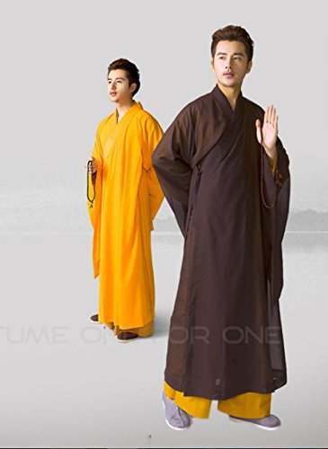 ion Haiqing Robe Long Kung Fu Gown Shaolin Monk Uniform Suit (#40, Black) ()
