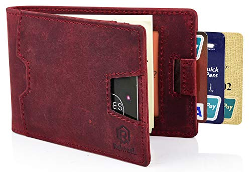 (Slim Bifold RFID Blocking Genuine Leather Wallet for Men With Money Clip-RehtaeL (Crazy Horse Leather, Carmine Red))