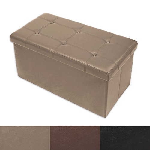 Ottoman Storage Bench | Classic-Design Upholstered Ottoman Coffee Table Foot Rest | Faux Leather ...