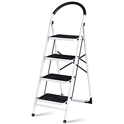 Giantex Stepladder 4 Step Folding Ladder Step Stool Platform Home Kitchen Tool Portable Multipurpose Ladder w/Metal Frame Rubber Hand Grip Anti-Slip Pedal 330Lbs Capacity
