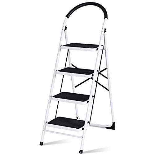 Giantex Stepladder 4 Step Folding Ladder Step Stool Platform Home Kitchen Tool Portable Multipurpose Ladder w/Metal Frame Rubber Hand Grip Anti-Slip Pedal 330Lbs Capacity (51.6''H)