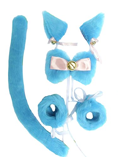 [Angelaicos Unisex Wire Inside Handmade Long Hair Faux Fur Cat Tail Bracelets Bow Tie Hairclips Sets] (Cat Ears And Tail Set)
