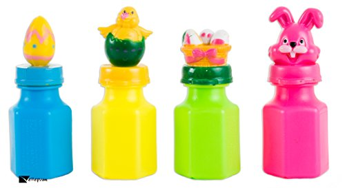 Dozen Assorted Easter Character Bunny Egg Chick Mini Bubbles with Attached BubbleWands