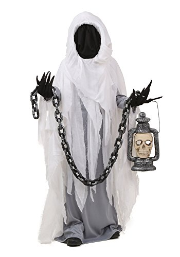 The Ghost Of Christmas Present Costume (Scary Ghost Costume Child, Boy Girl Kids Halloween Demon Cosplay Outfit White S-XL (L))