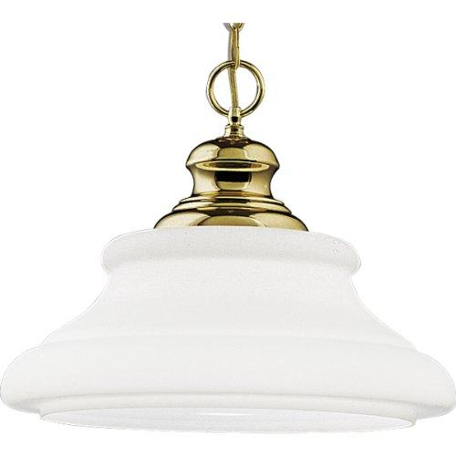- Progress Lighting P5018-10 One-Light Pendant with Triplex Opal Glass Pendant, Polished Brass