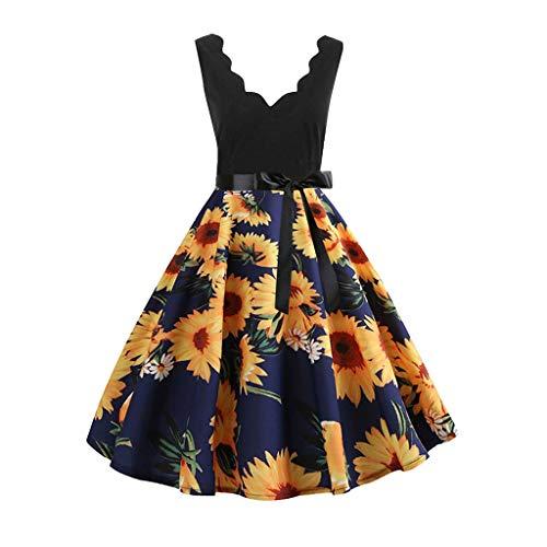 LisYOU Women Sleeveless Fashion Print Vintage Flare Swing A Line Dress(S, A-Blue) ()