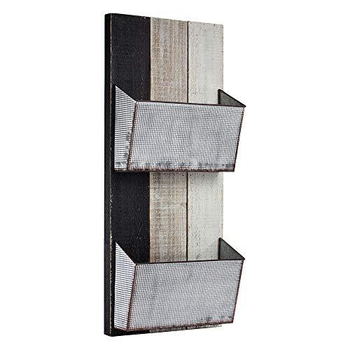 American Art Decor Shabby Chic 2 Pocket Galvanized Metal and Wood Mail/Magazine Rack/Wall Organizer ()
